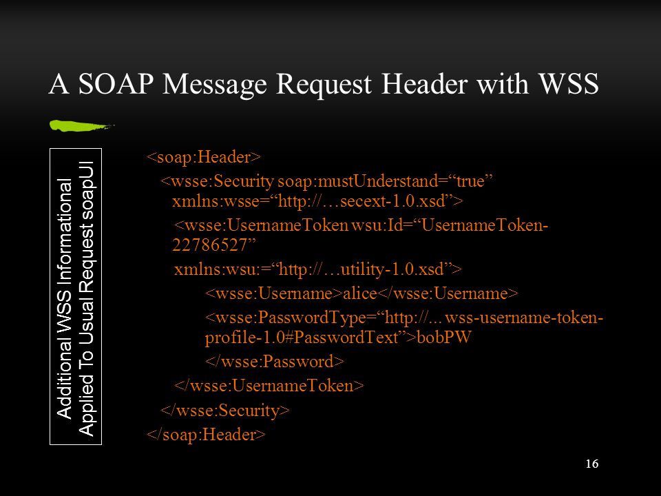 16 A SOAP Message Request Header with WSS <wsse:UsernameToken wsu:Id= UsernameToken- 22786527 xmlns:wsu:= http://…utility-1.0.xsd > alice bobPW Additional WSS Informational Applied To Usual Request soapUI