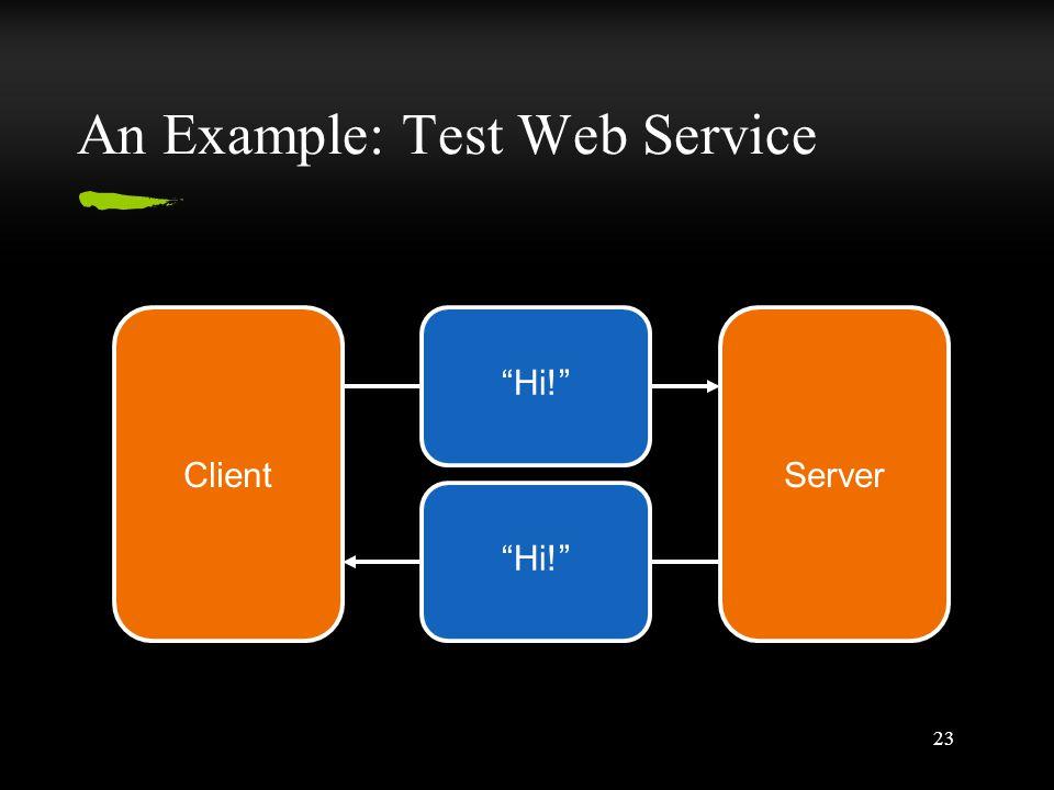 23 An Example: Test Web Service ClientServer Hi!