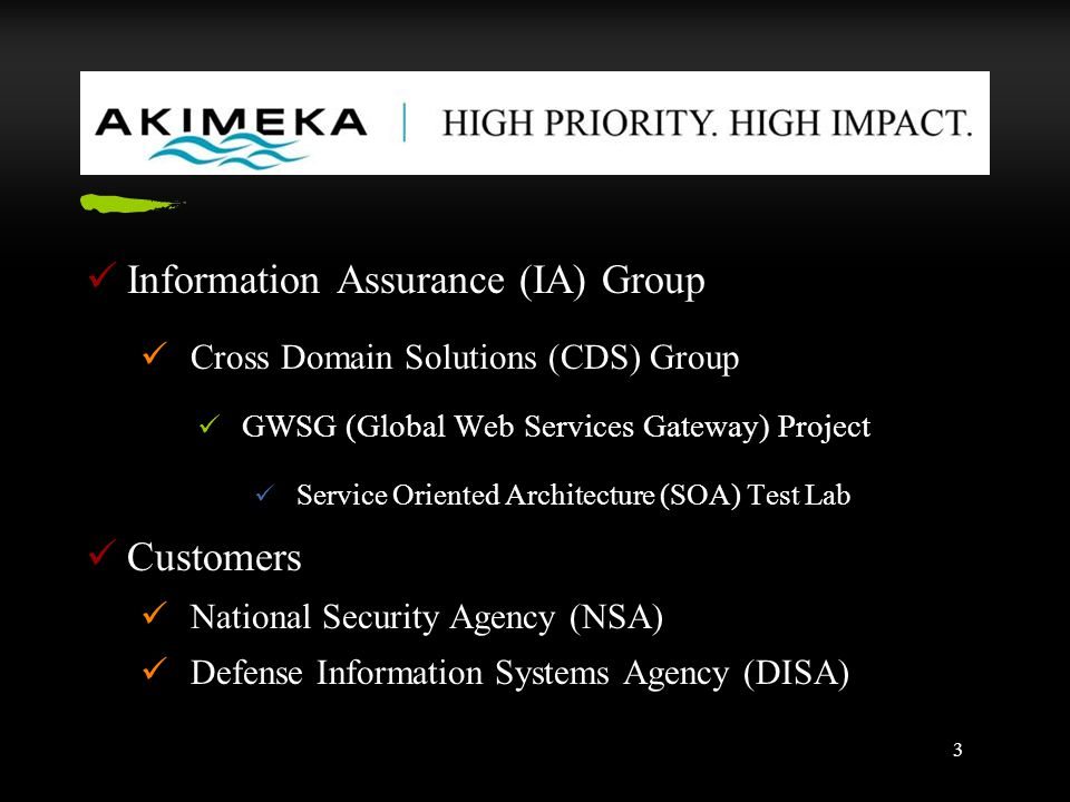 3 Information Assurance (IA) Group Cross Domain Solutions (CDS) Group GWSG (Global Web Services Gateway) Project Service Oriented Architecture (SOA) Test Lab Customers National Security Agency (NSA) Defense Information Systems Agency (DISA)