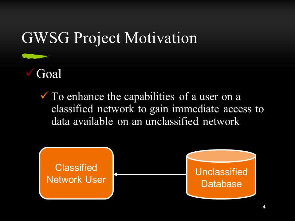 4 GWSG Project Motivation Goal To enhance the capabilities of a user on a classified network to gain immediate access to data available on an unclassi