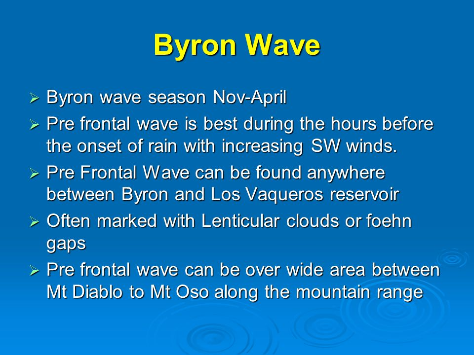 Byron Wave  Byron wave season Nov-April  Pre frontal wave is best during the hours before the onset of rain with increasing SW winds.