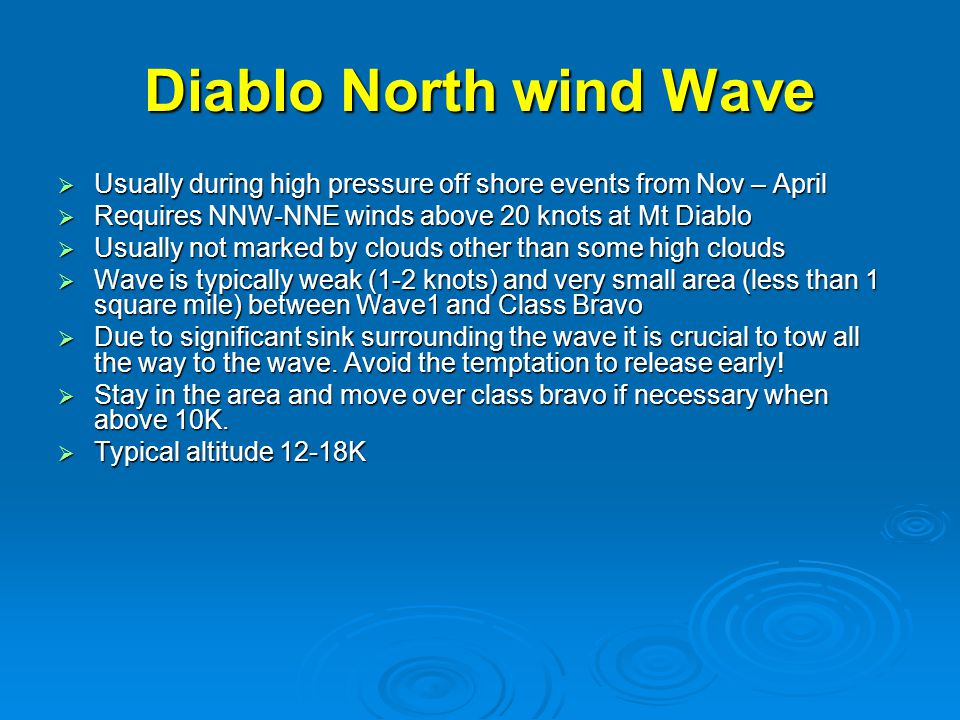 Diablo North wind Wave  Usually during high pressure off shore events from Nov – April  Requires NNW-NNE winds above 20 knots at Mt Diablo  Usually not marked by clouds other than some high clouds  Wave is typically weak (1-2 knots) and very small area (less than 1 square mile) between Wave1 and Class Bravo  Due to significant sink surrounding the wave it is crucial to tow all the way to the wave.