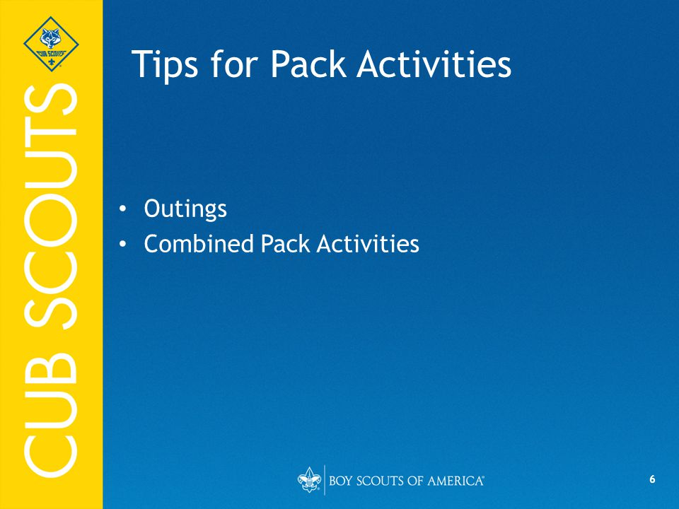 6 Tips for Pack Activities Outings Combined Pack Activities