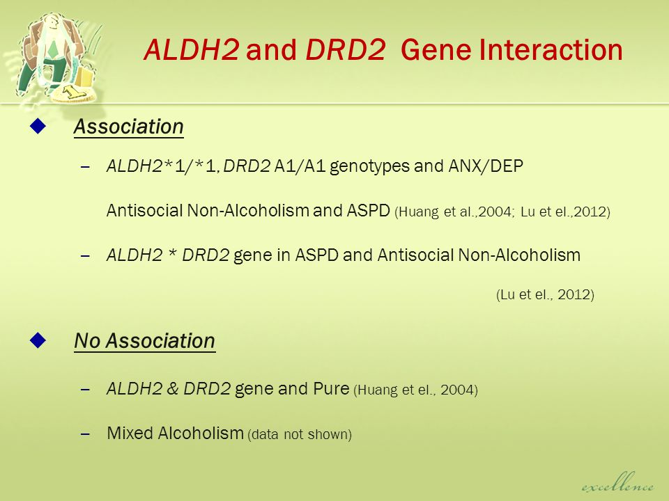 ALDH2 and DRD2 Gene Interaction  Association – ALDH2*1/*1, DRD2 A1/A1 genotypes and ANX/DEP Antisocial Non-Alcoholism and ASPD (Huang et al.,2004; Lu et el.,2012) – ALDH2 * DRD2 gene in ASPD and Antisocial Non-Alcoholism (Lu et el., 2012)  No Association – ALDH2 & DRD2 gene and Pure (Huang et el., 2004) – Mixed Alcoholism (data not shown)