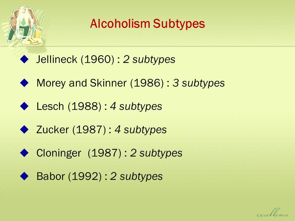 Alcoholism Subtypes  Jellineck (1960) : 2 subtypes  Morey and Skinner (1986) : 3 subtypes  Lesch (1988) : 4 subtypes  Zucker (1987) : 4 subtypes  Cloninger (1987) : 2 subtypes  Babor (1992) : 2 subtypes