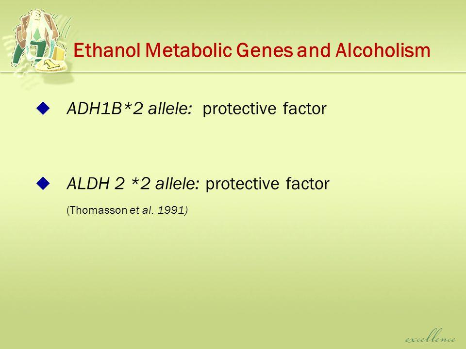  ADH1B*2 allele: protective factor  ALDH 2 *2 allele: protective factor (Thomasson et al.