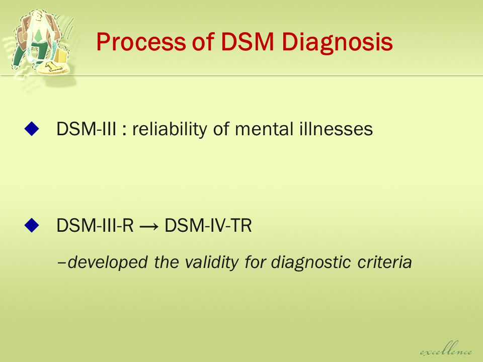 Process of DSM Diagnosis  DSM-III : reliability of mental illnesses  DSM-III-R → DSM-IV-TR – developed the validity for diagnostic criteria