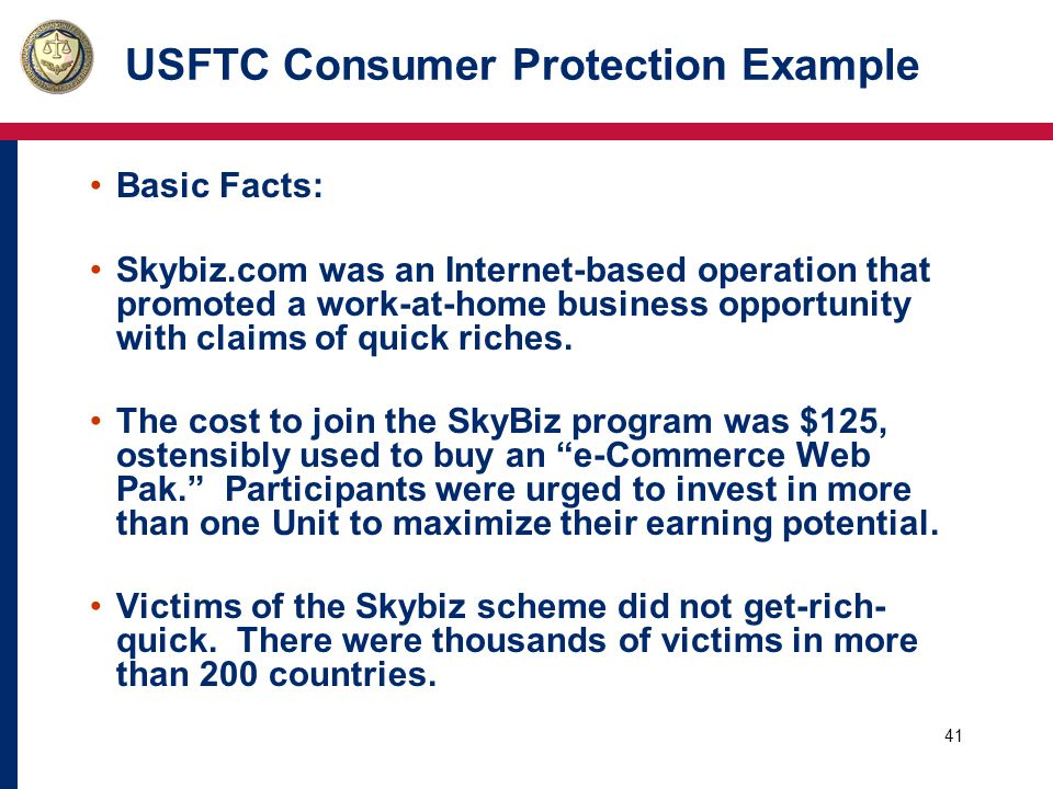41 USFTC Consumer Protection Example Basic Facts: Skybiz.com was an Internet-based operation that promoted a work-at-home business opportunity with claims of quick riches.
