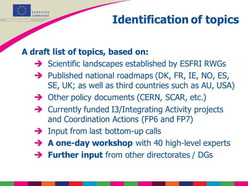 Identification of topics A draft list of topics, based on: èScientific landscapes established by ESFRI RWGs èPublished national roadmaps (DK, FR, IE, NO, ES, SE, UK; as well as third countries such as AU, USA) èOther policy documents (CERN, SCAR, etc.) èCurrently funded I3/Integrating Activity projects and Coordination Actions (FP6 and FP7) èInput from last bottom-up calls èA one-day workshop with 40 high-level experts èFurther input from other directorates / DGs