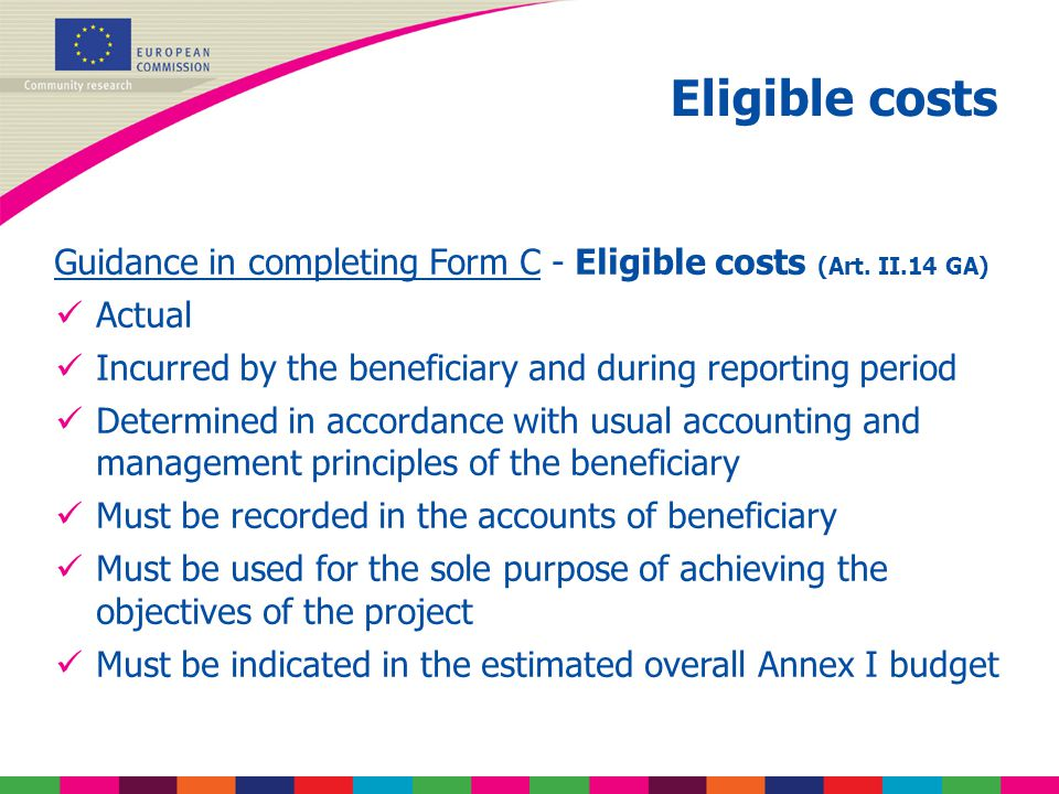 Guidance in completing Form C - Eligible costs (Art.