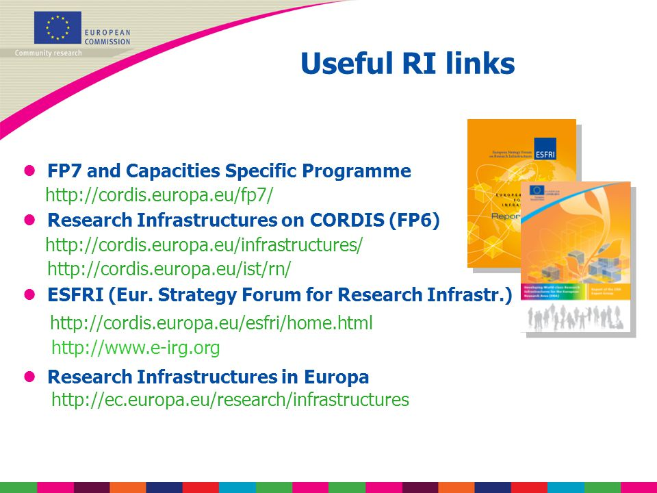 Useful RI links lFP7 and Capacities Specific Programme http://cordis.europa.eu/fp7/ lResearch Infrastructures on CORDIS (FP6) http://cordis.europa.eu/infrastructures/ http://cordis.europa.eu/ist/rn/ lESFRI (Eur.