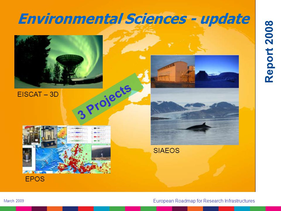 Environmental Sciences - update EPOS SIAEOS EISCAT – 3D 3 Projects Report 2008 European Roadmap for Research Infrastructures March 2009