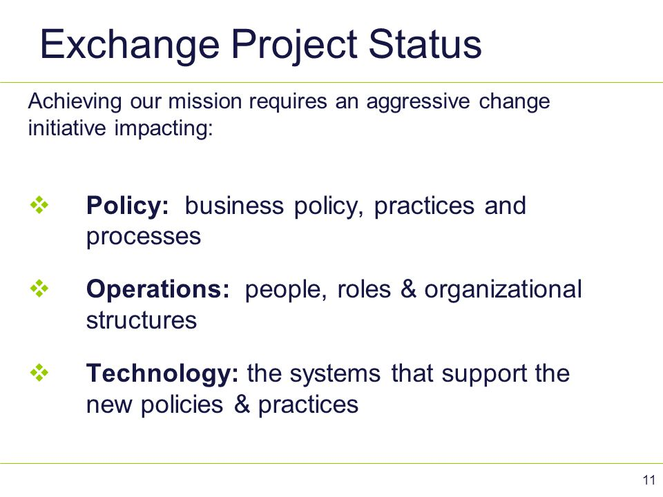 Exchange Project Status Achieving our mission requires an aggressive change initiative impacting:  Policy: business policy, practices and processes 
