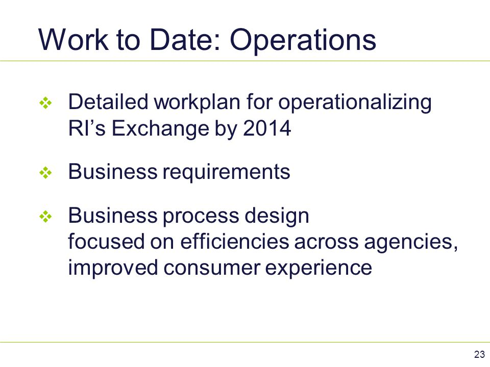 Work to Date: Operations  Detailed workplan for operationalizing RI's Exchange by 2014  Business requirements  Business process design focused on e