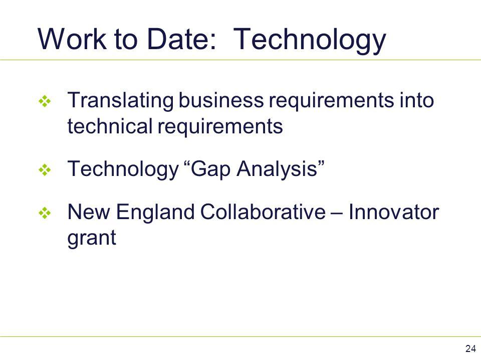 "Work to Date: Technology  Translating business requirements into technical requirements  Technology ""Gap Analysis""  New England Collaborative – Inn"