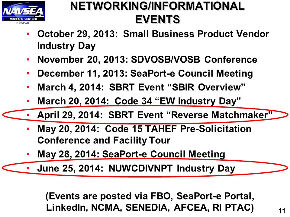 NETWORKING/INFORMATIONAL EVENTS October 29, 2013: Small Business Product Vendor Industry Day November 20, 2013: SDVOSB/VOSB Conference December 11, 20