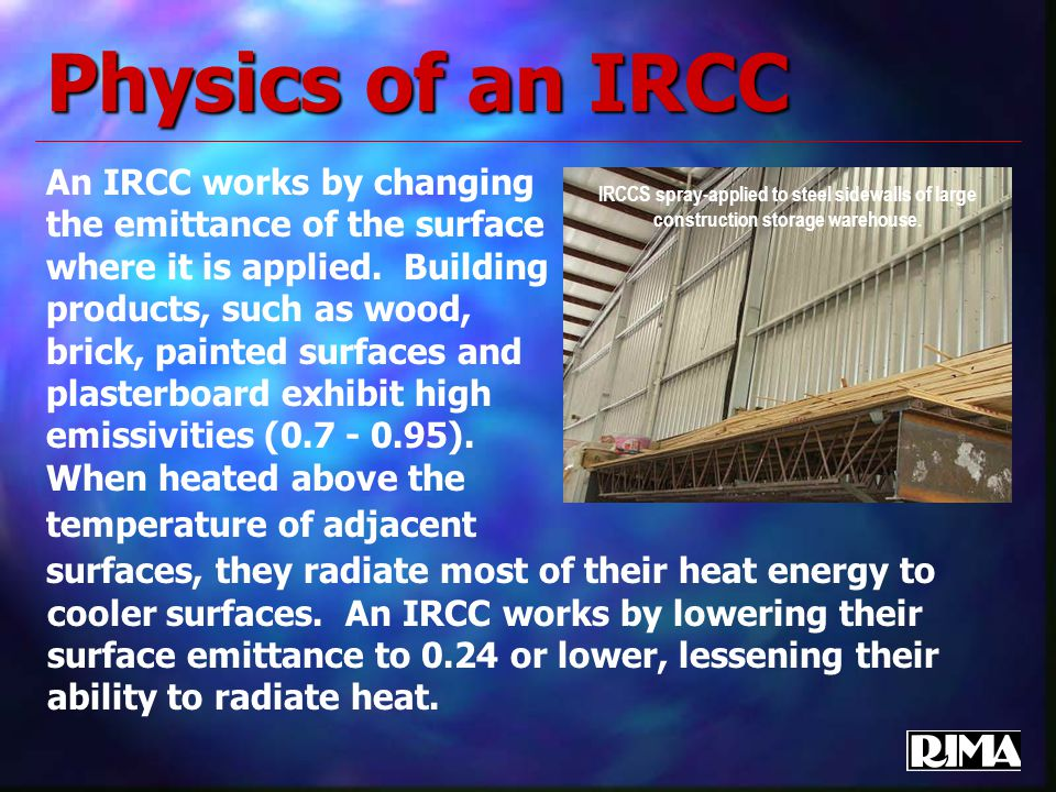Physics of an IRCC An IRCC works by changing the emittance of the surface where it is applied.