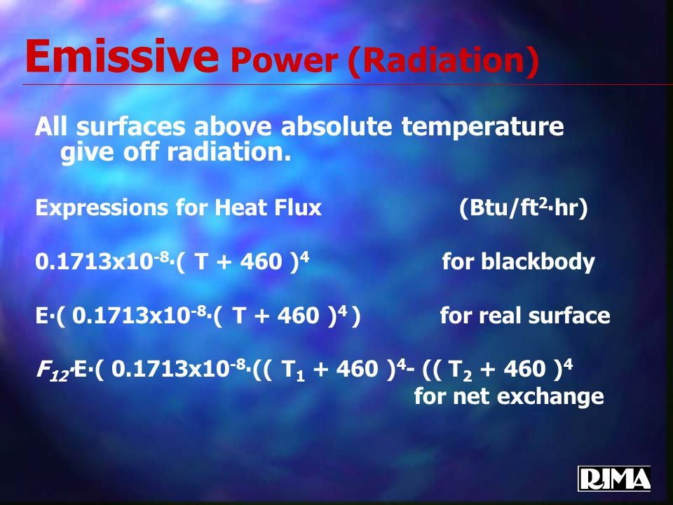 Emissive Power (Radiation) All surfaces above absolute temperature give off radiation.