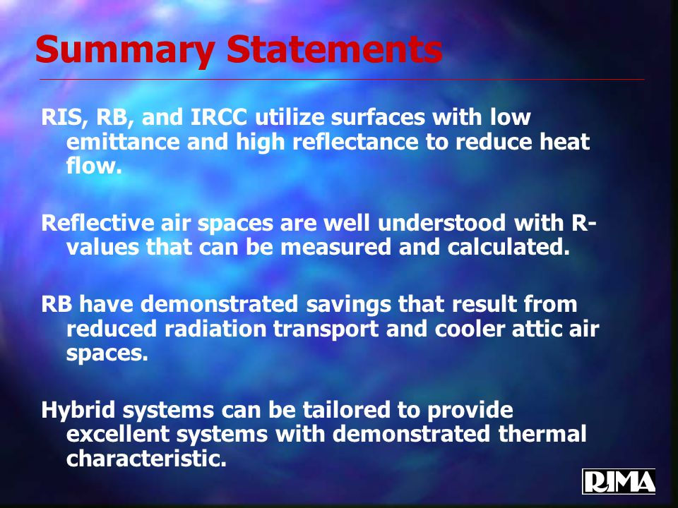 Summary Statements RIS, RB, and IRCC utilize surfaces with low emittance and high reflectance to reduce heat flow.