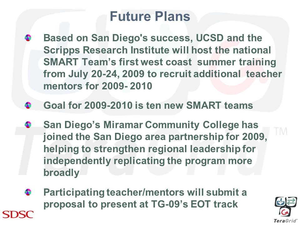 Future Plans Based on San Diego s success, UCSD and the Scripps Research Institute will host the national SMART Team's first west coast summer training from July 20-24, 2009 to recruit additional teacher mentors for Goal for is ten new SMART teams San Diego's Miramar Community College has joined the San Diego area partnership for 2009, helping to strengthen regional leadership for independently replicating the program more broadly Participating teacher/mentors will submit a proposal to present at TG-09's EOT track