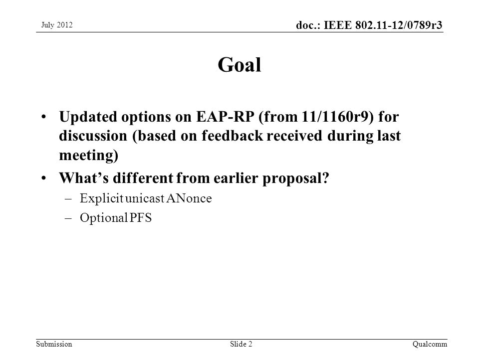 Submission doc.: IEEE /0789r3 Goal Updated options on EAP-RP (from 11/1160r9) for discussion (based on feedback received during last meeting) What's different from earlier proposal.