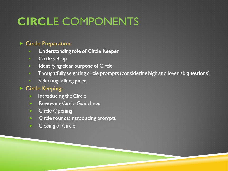 CIRCLE COMPONENTS  Circle Preparation:  Understanding role of Circle Keeper  Circle set up  Identifying clear purpose of Circle  Thoughtfully selecting circle prompts (considering high and low risk questions)  Selecting talking piece  Circle Keeping:  Introducing the Circle  Reviewing Circle Guidelines  Circle Opening  Circle rounds: Introducing prompts  Closing of Circle