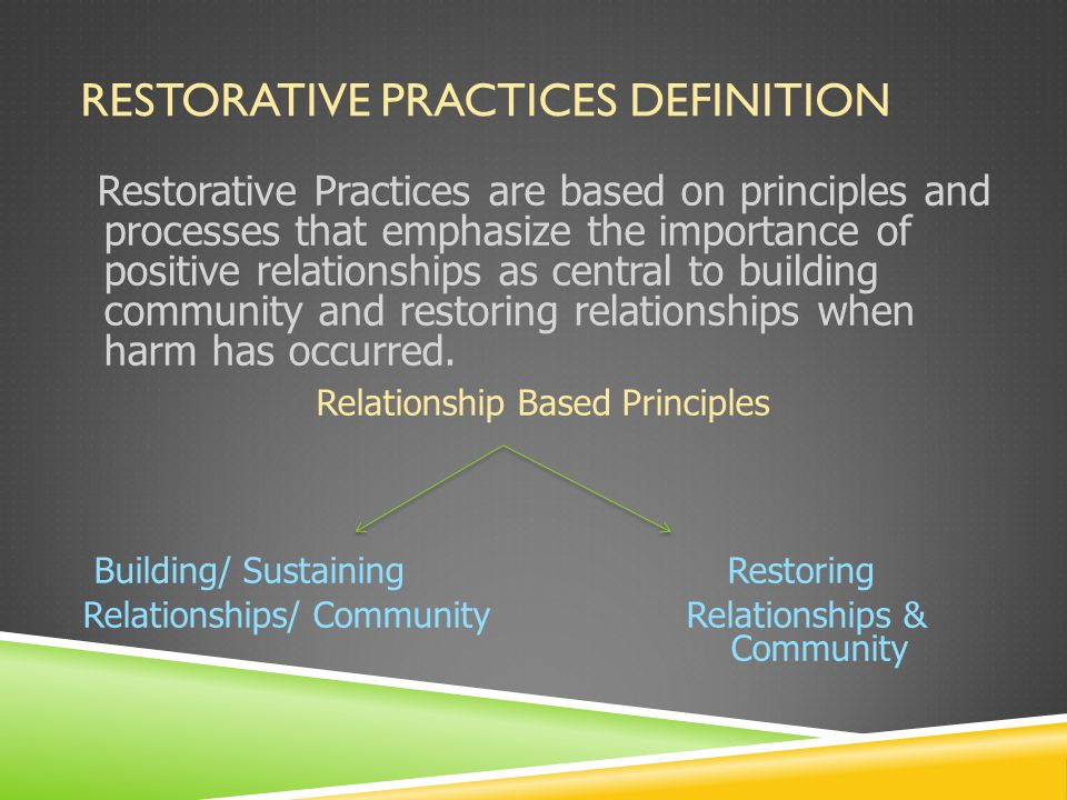 RESTORATIVE PRACTICES DEFINITION Restorative Practices are based on principles and processes that emphasize the importance of positive relationships as central to building community and restoring relationships when harm has occurred.