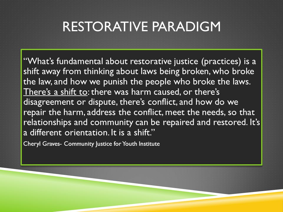 RESTORATIVE PARADIGM What's fundamental about restorative justice (practices) is a shift away from thinking about laws being broken, who broke the law, and how we punish the people who broke the laws.