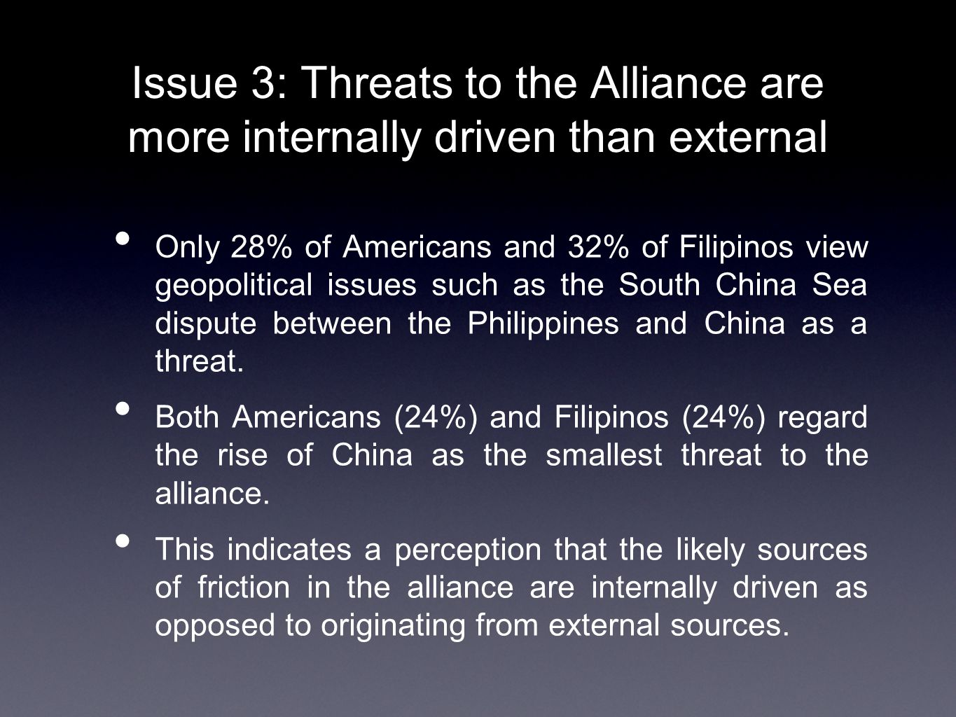 Issue 3: Threats to the Alliance are more internally driven than external Only 28% of Americans and 32% of Filipinos view geopolitical issues such as the South China Sea dispute between the Philippines and China as a threat.