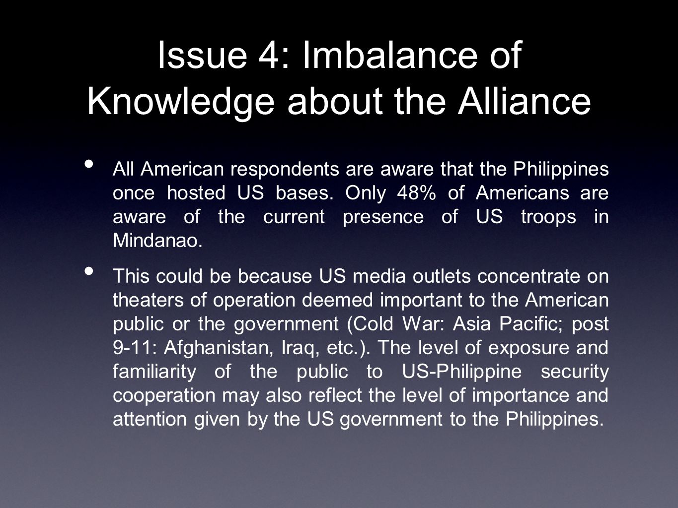 Issue 4: Imbalance of Knowledge about the Alliance All American respondents are aware that the Philippines once hosted US bases.
