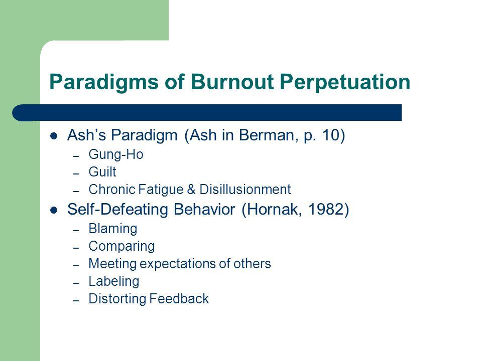 Paradigms of Burnout Perpetuation Ash's Paradigm (Ash in Berman, p. 10) – Gung-Ho – Guilt – Chronic Fatigue & Disillusionment Self-Defeating Behavior