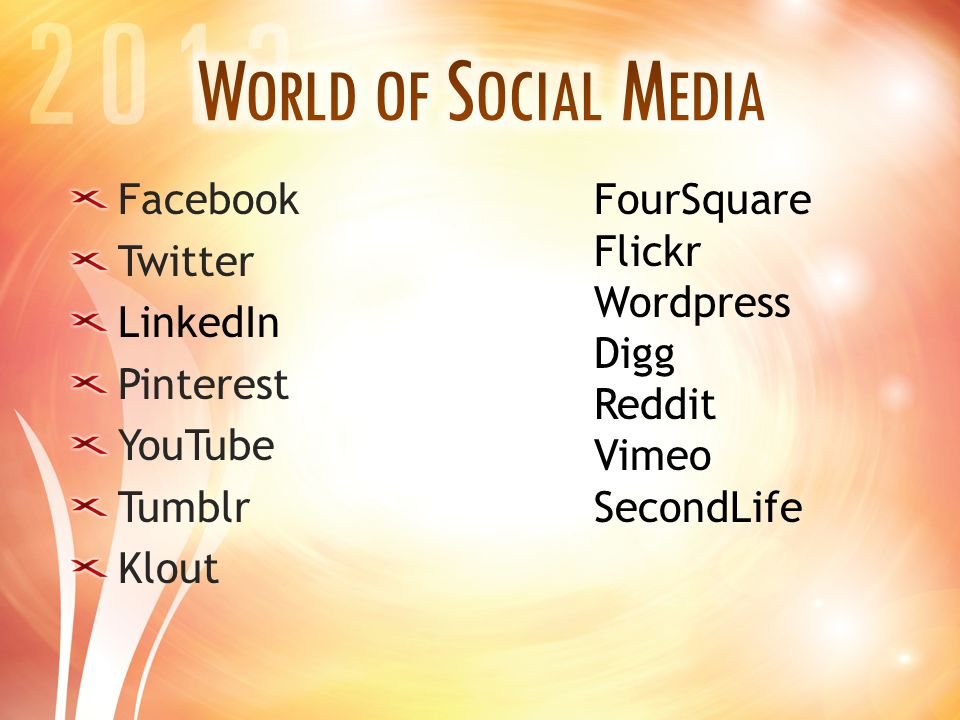 Facebook Twitter LinkedIn Pinterest YouTube Tumblr Klout FourSquare Flickr Wordpress Digg Reddit Vimeo SecondLife