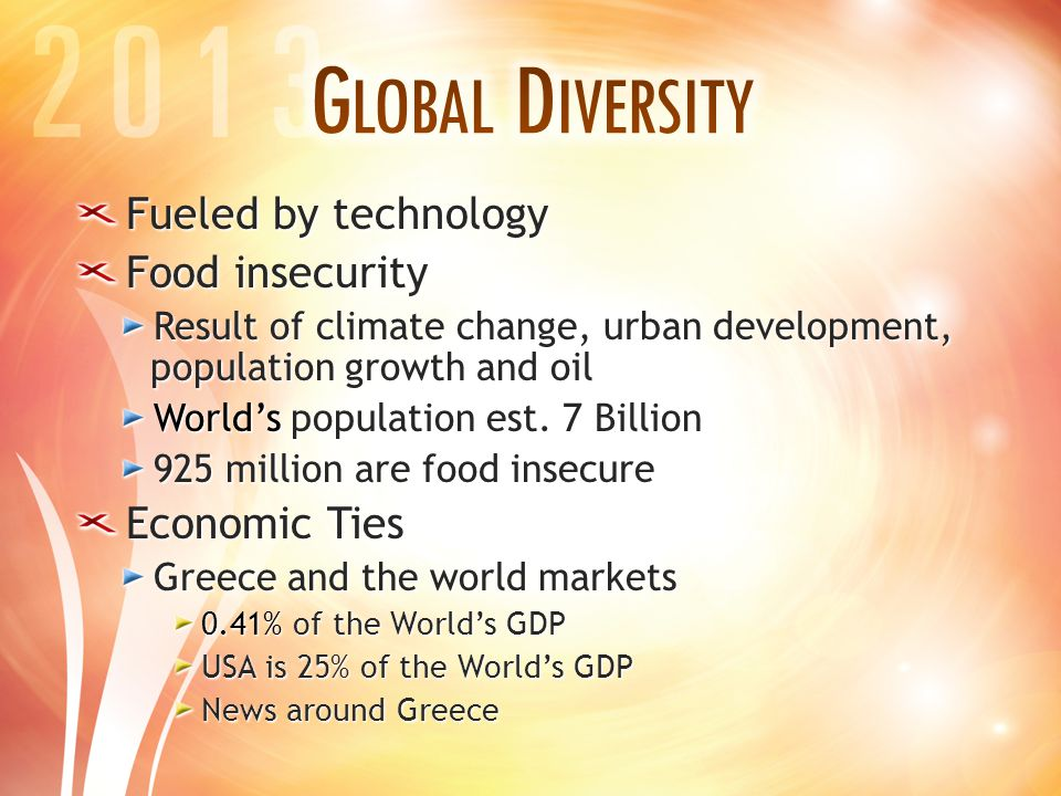 Fueled by technology Food insecurity Result of climate change, urban development, population growth and oil World's population est.