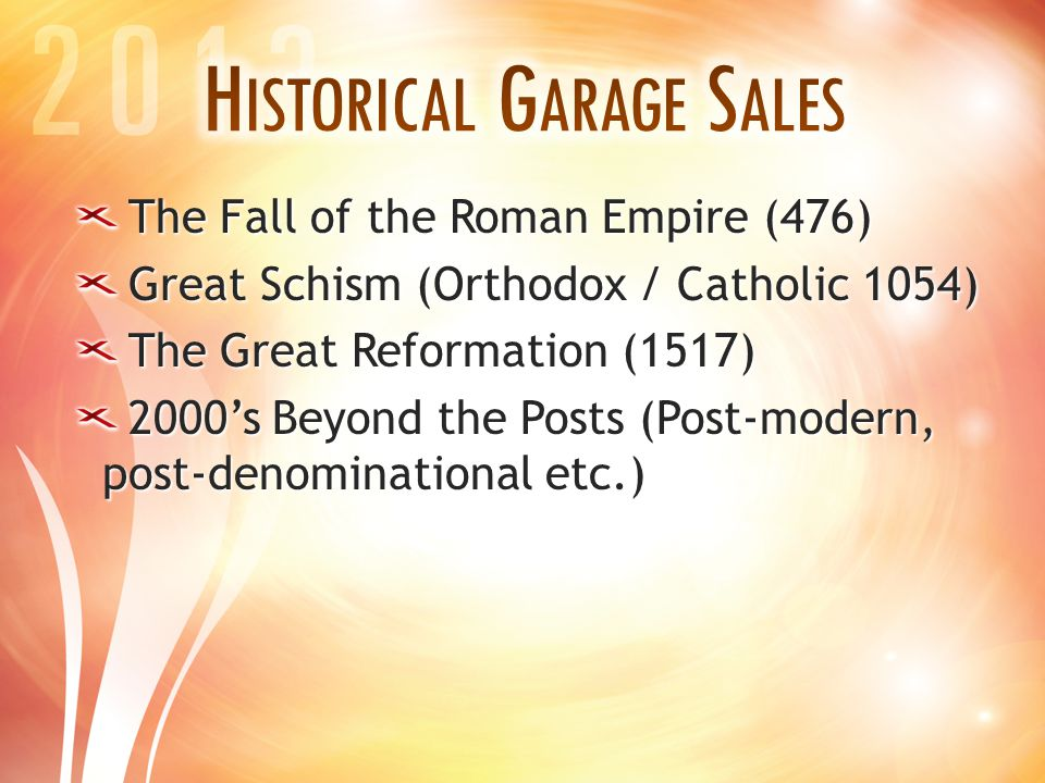 The Fall of the Roman Empire (476) Great Schism (Orthodox / Catholic 1054) The Great Reformation (1517) 2000's Beyond the Posts (Post-modern, post-den
