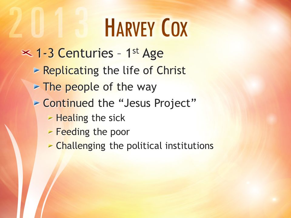 1-3 Centuries – 1 st Age Replicating the life of Christ The people of the way Continued the Jesus Project Healing the sick Feeding the poor Challenging the political institutions