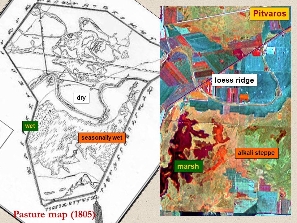 Pasture map (1805) Pitvaros loess ridge alkali steppe marsh dry seasonally wet wet