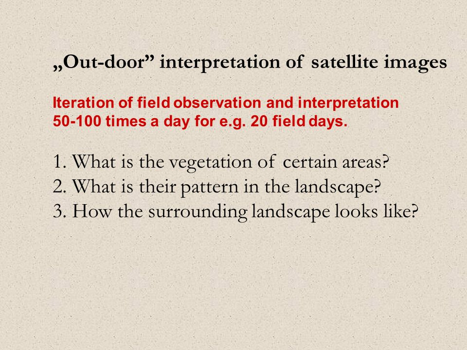 """Out-door interpretation of satellite images Iteration of field observation and interpretation 50-100 times a day for e.g."