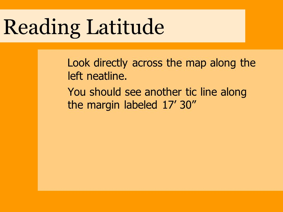 Reading Latitude Now continue reading upwards along the right neatline.