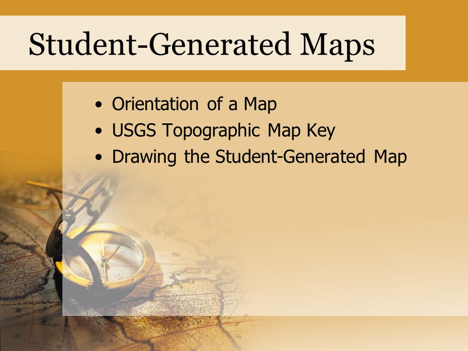 Student-Generated Maps Use a USGS Topographic Map Key as a guide to drawing features.