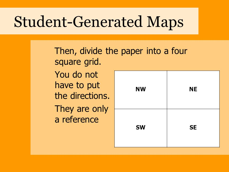 Student-Generated Maps Each square is in turn divided into four sections.