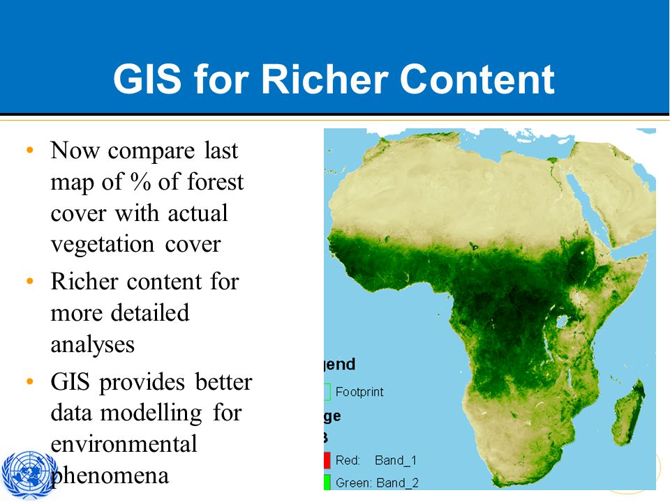 African Centre for Statistics GIS for Richer Content Now compare last map of % of forest cover with actual vegetation cover Richer content for more detailed analyses GIS provides better data modelling for environmental phenomena