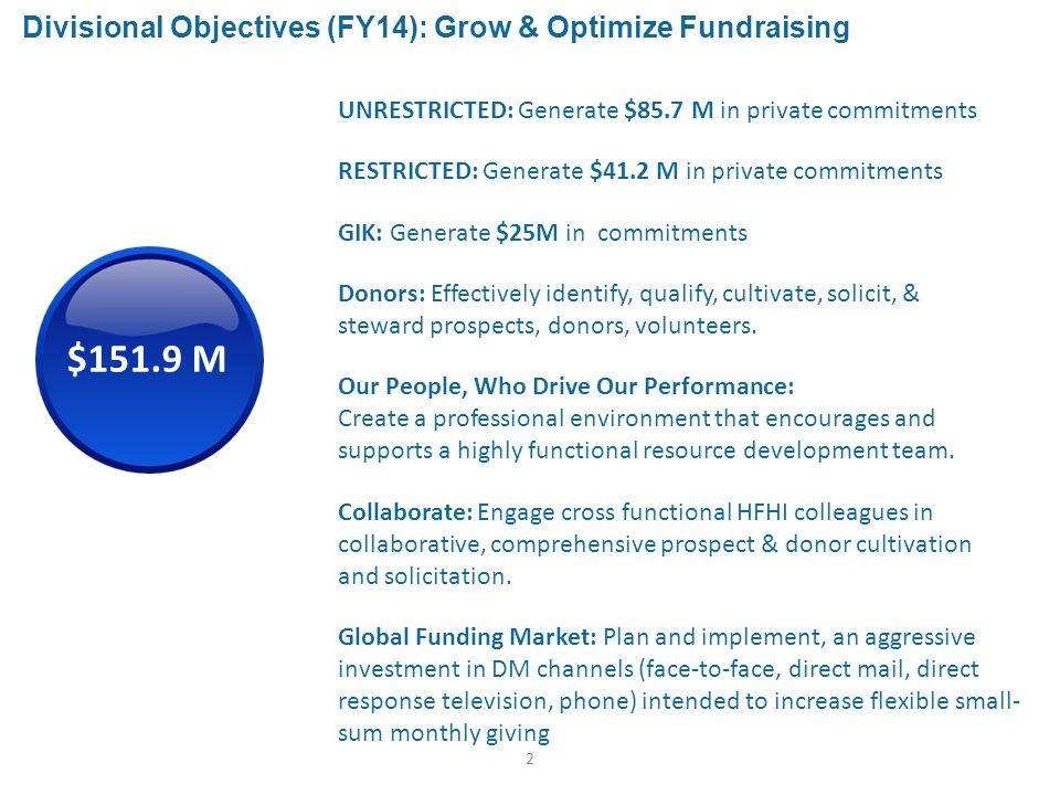 2 Divisional Objectives (FY14): Grow & Optimize Fundraising Our People, Who Drive Our Performance: Create a professional environment that encourages and supports a highly functional resource development team.