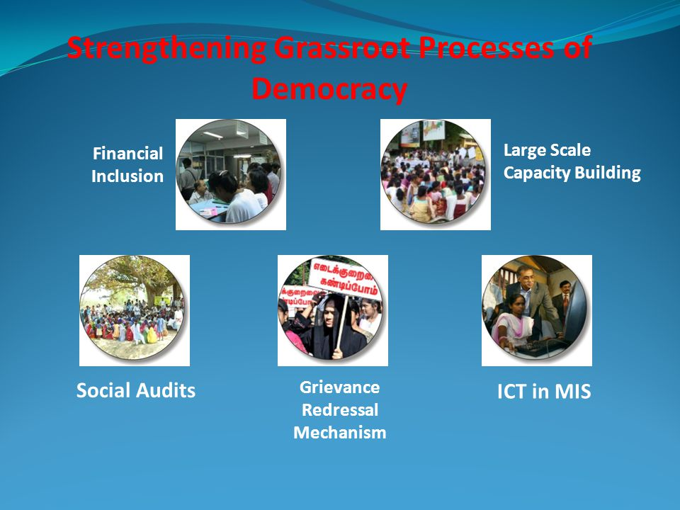 Strengthening Grassroot Processes of Democracy Financial Inclusion Large Scale Capacity Building Social Audits Grievance Redressal Mechanism ICT in MI