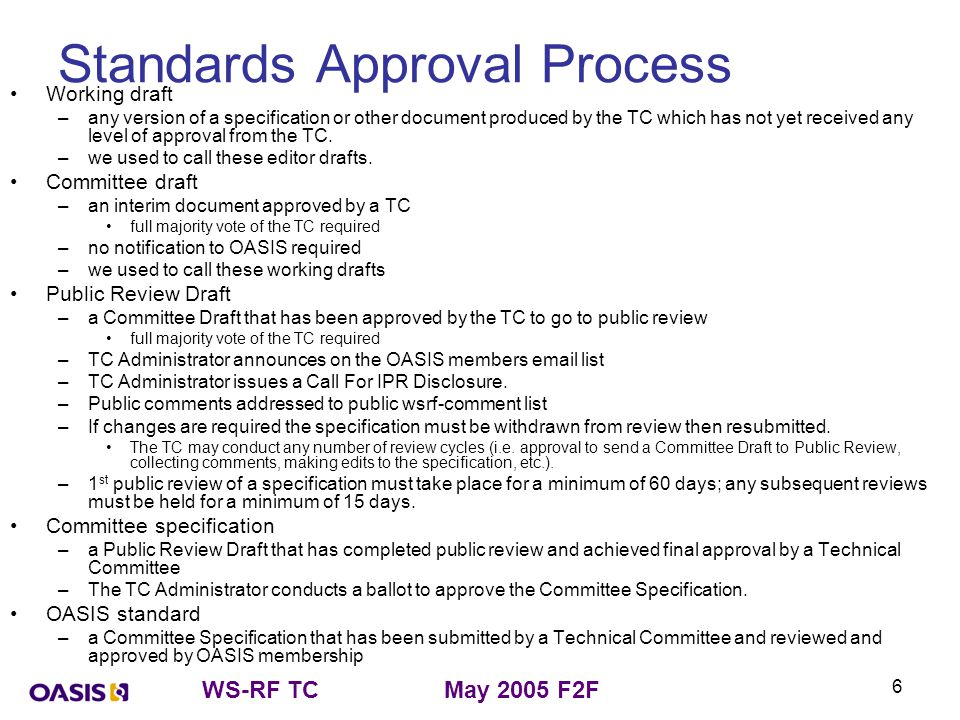 WS-RF TCMay 2005 F2F 6 Standards Approval Process Working draft –any version of a specification or other document produced by the TC which has not yet