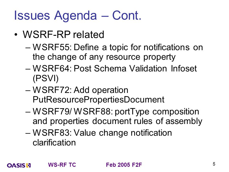 WS-RF TCFeb 2005 F2F 5 Issues Agenda – Cont. WSRF-RP related –WSRF55: Define a topic for notifications on the change of any resource property –WSRF64:
