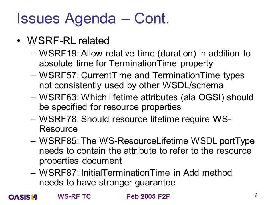 WS-RF TCFeb 2005 F2F 6 Issues Agenda – Cont. WSRF-RL related –WSRF19: Allow relative time (duration) in addition to absolute time for TerminationTime