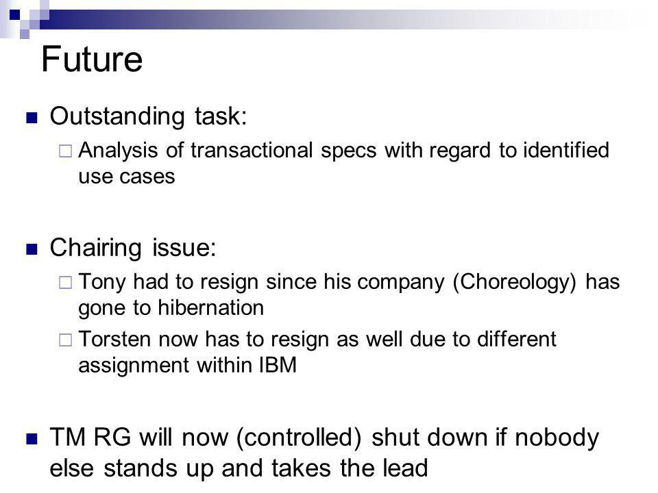 Future Outstanding task:  Analysis of transactional specs with regard to identified use cases Chairing issue:  Tony had to resign since his company (Choreology) has gone to hibernation  Torsten now has to resign as well due to different assignment within IBM TM RG will now (controlled) shut down if nobody else stands up and takes the lead