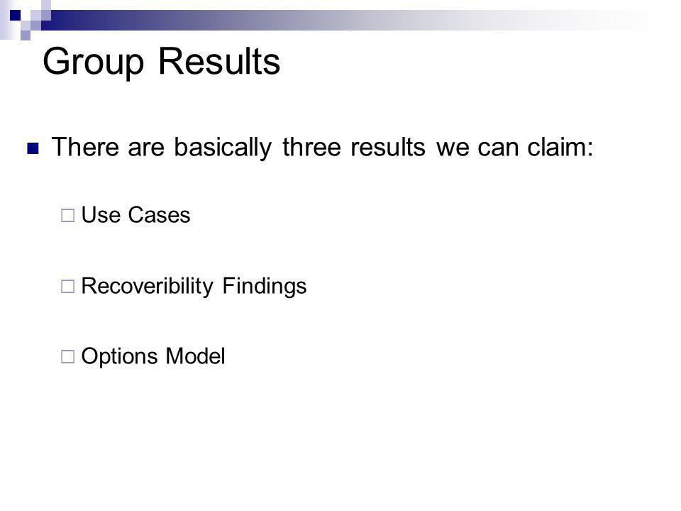 Group Results There are basically three results we can claim:  Use Cases  Recoveribility Findings  Options Model