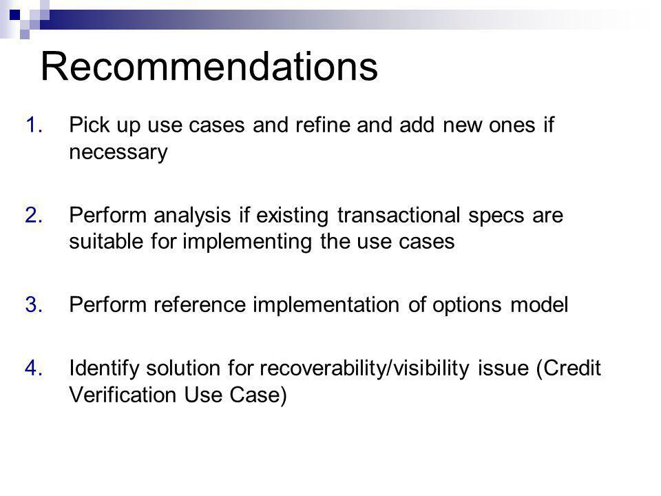 Recommendations 1.Pick up use cases and refine and add new ones if necessary 2.Perform analysis if existing transactional specs are suitable for implementing the use cases 3.Perform reference implementation of options model 4.Identify solution for recoverability/visibility issue (Credit Verification Use Case)
