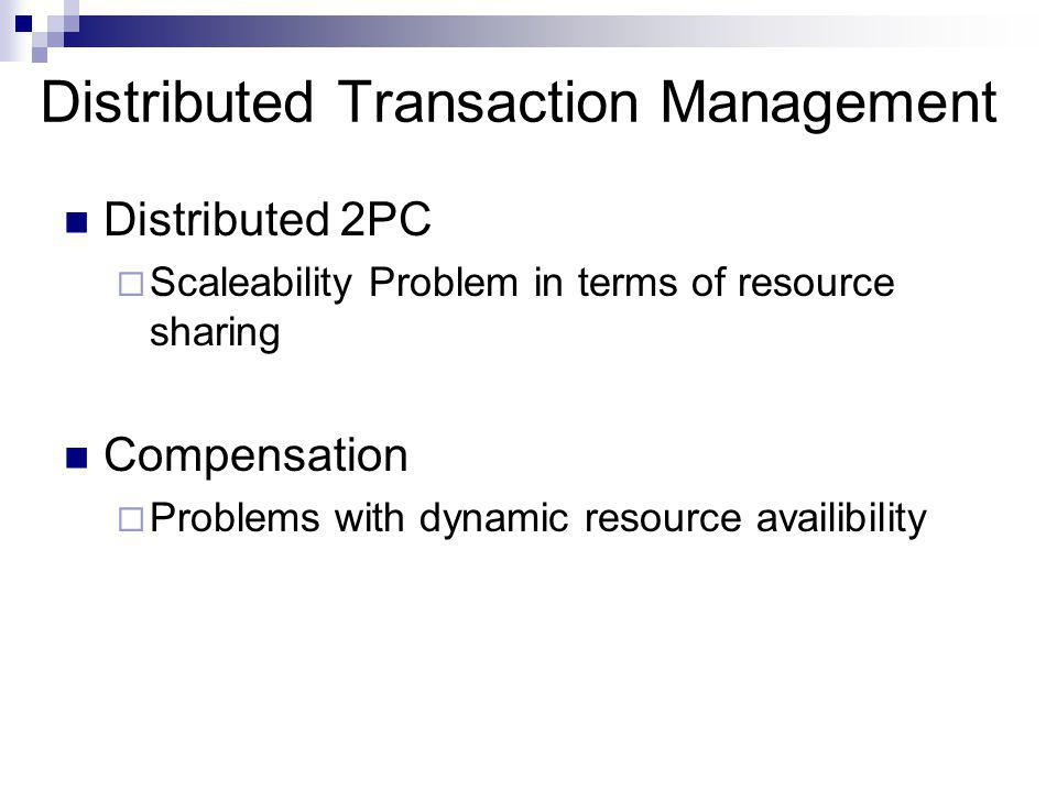 Distributed Transaction Management Distributed 2PC  Scaleability Problem in terms of resource sharing Compensation  Problems with dynamic resource availibility